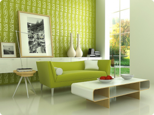 Sala de estar verde
